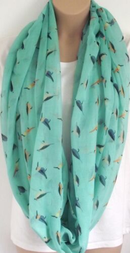 Natural /& Blue Mint The Paradise Bird Circle Loop Infinity Scarf Snood Cream