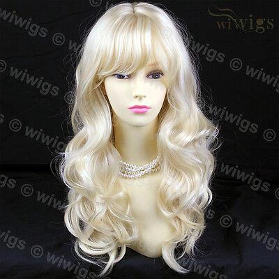 New Wonderful Pale Blonde Long Wavy Ladies Wigs WIWIGS #613 UK