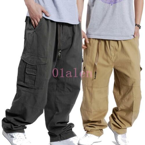 Waist Mens Elastic Military Cotton Loose Pants Wide Overalls Trousers Cargo Leg HURZw