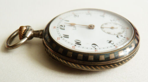Montre gousset argent massif niellé LIP vers 1900 silver pocket watch niello