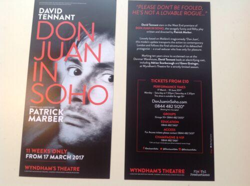 2x flyer DON JUAN IN SOHO Wyndham Theatre DAVID TENNANT