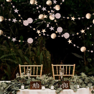 Stars-Round-Hanging-Flag-Rose-Gold-Glitter-Powder-banner-Paper-Garland