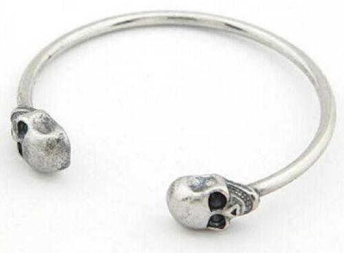 Skull Bracelet Bangle Gold Silver Black Bronze Womens Teenager Punk Head UK