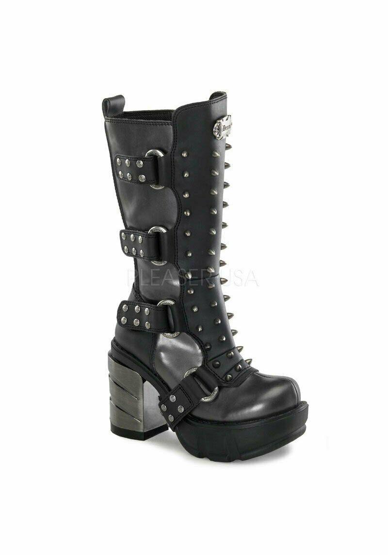 Demonia 3 1 2 Inch Chromed ABS Heel, 1 1 2 Inch Moulded Pu Platform Calf Boot