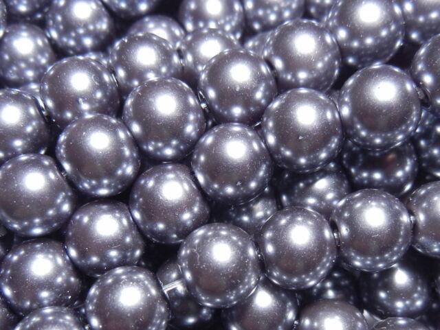 100Pc 6mm Quality Glass Pearl Round Beads - Gunpowder Dark Grey (CR6036)