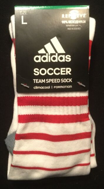 3441577c10c9 adidas Soccer Adult Climacool Formation Team Speed Socks White Red ...