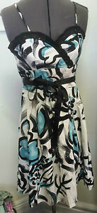 NEW-Hot-Options-sz-12-10-floral-abstract-dress-RRP-49-99-Black-White-Turquiose