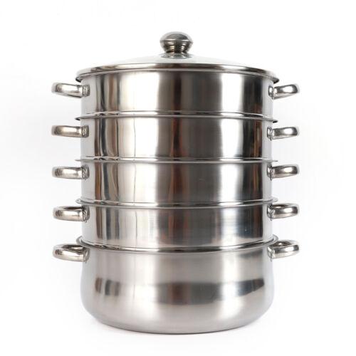 30cm/28cm/26cm Stainless Steel Steam Cooker Steamer Steam Cooker 5 layer & Lid DE