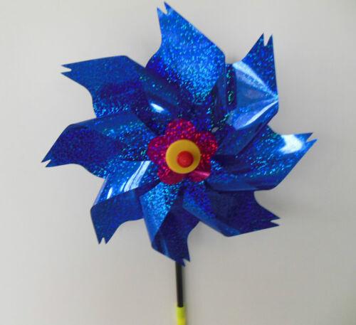 Windrad Blume blau schimmernd Windspiel Windspirale Garten Balkon