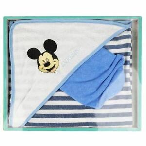 DISNEY-coffret-cadeau-lot-cape-de-bain-gant-MICKEY-bleu-blanc-neuf