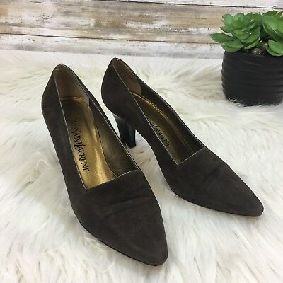Vintage Yves Saint Laurent Women's Brown Pointed Toe Stacked Heel Pumps 6M | eBay