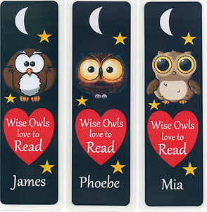 3 childrens personalised bookmarks owls love to read 18cm x5cm