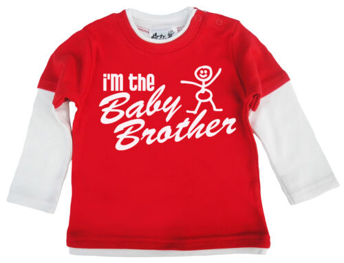 """Dirty Fingers Baby Boy Skater Top  /""""I/'m the Baby Brother/"""" Newborn Little Brother"""