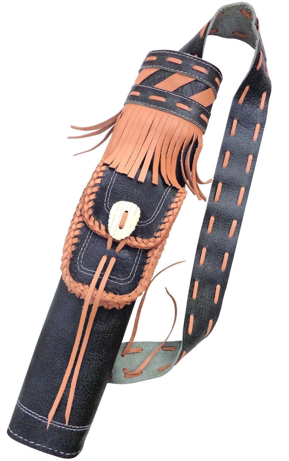 Objetivo de cuero fino antiguo hecho a mano de flecha atrás Aljaba tiro con arco Productos Aq -166