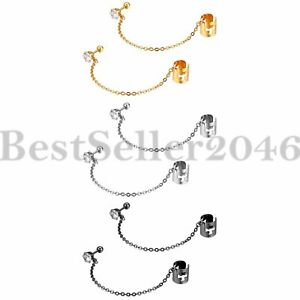 2pcs-Men-Women-CZ-Stud-with-Chain-and-Cartilage-Huggie-Cross-Ear-Cuff-Clip-on
