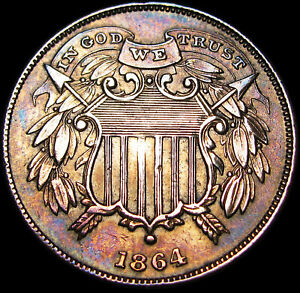 1864-Small-Motto-Two-Cent-Piece-2cp-Type-Coin-Stunning-Details-K421