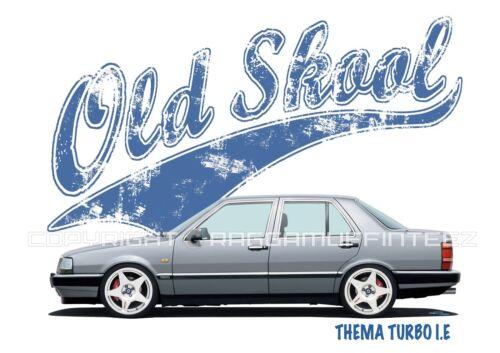 MODIFIED CLASSIC CAR OLD SKOOL LANCIA THEMA TURBO I.E t-shirt RETRO.