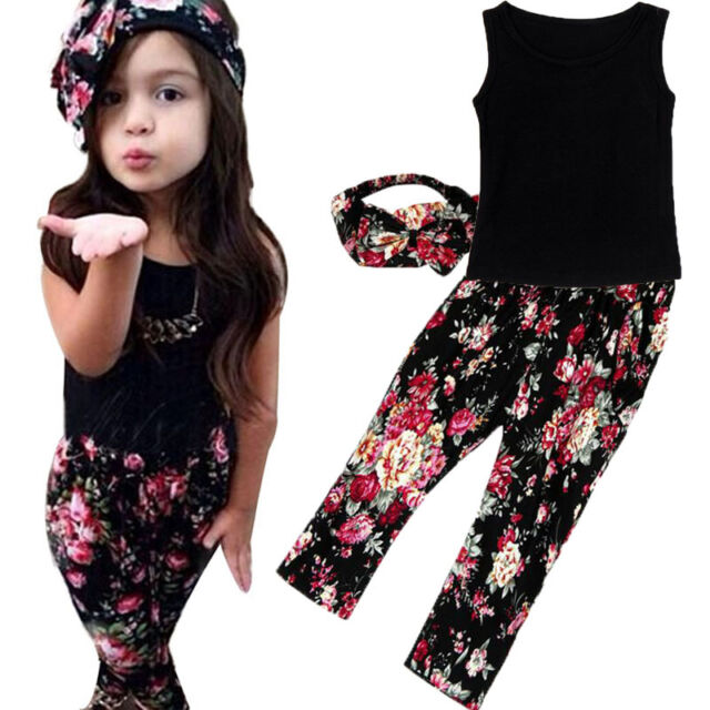 Toddler Baby Girl Summer Sleeveless Shirt Tops+Flowers Pants Kids Outfit Clothes