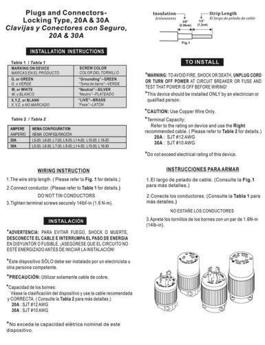 NEMA L6-30P 2 pack  YGA017 250V 30 Amps 2 Twist Lock Electrical Plug 3 Wire