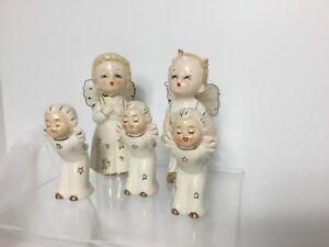 Vintage Christmas Angel Figurines Japan Tulle Pipe Cleaner Porcelain Rare find