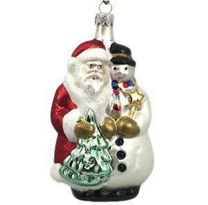 Santa Snowman And Christmas Tree Ornament Hand Blown Glass Ebay