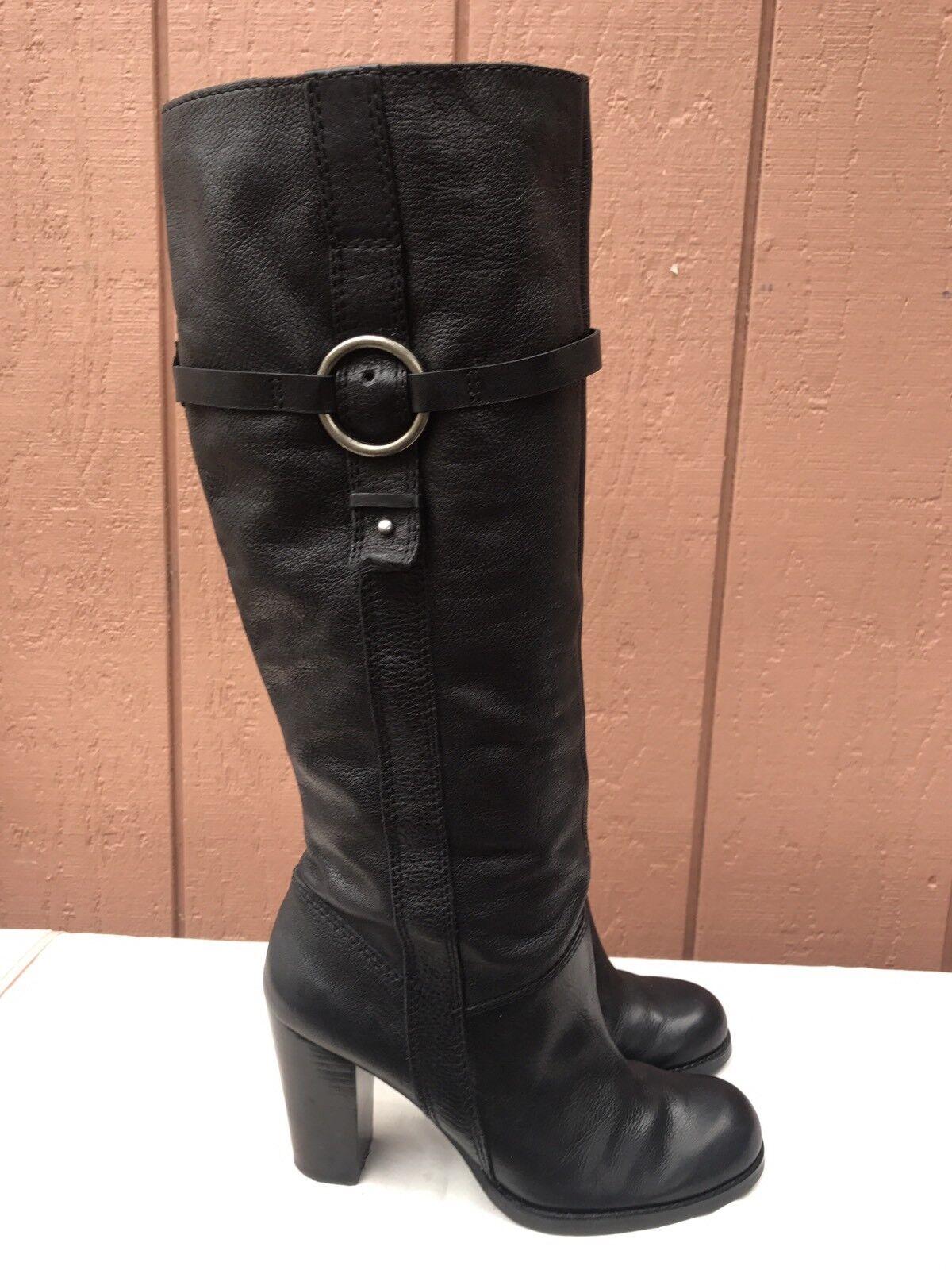 Nine West Kayleer Size US 8 Buckle Black Genuine Leather Stacked Block Heel Boot