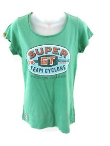 Haut-femme-SUPERDRY-T-Shirt-Top-M-Medium-coton-vert