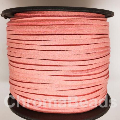 Cordón de cuero de imitación de gamuza TANGA Elegir Longitud 3mm X 1.5mm de los 40+ colores para elegir