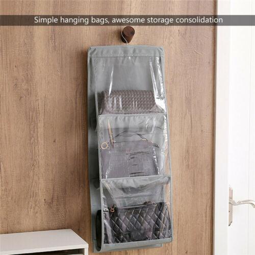 6 Pockets Clear Hanging Purse Handbag Tote Bag Storage Organizer Closet Rack Bag