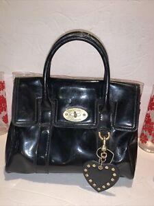 Mulberry Target Black Patent Bayswater Satchel Handbag Small Purse W Heart Charm