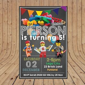 Personalised LEGO CITY Boy Kids Party Invitations Invites DIGITAL