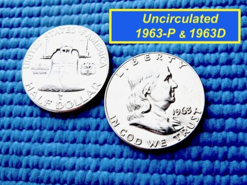 "D  FRANKLIN HALVES  ⭐️  /""BU/""  ⭐️  2-Coin Set  ⭐️ 1963-P /& #1252"