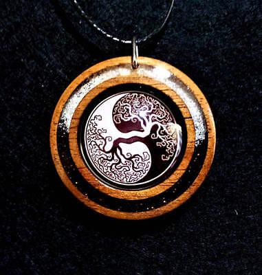 Symbolic,Animal Totem Jewelry Yin Yang Wolf and Moon Pendant Spiritual Taoism