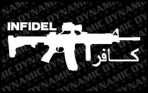 "Infidel AR-15 12/"" USA Army Marines patriotic vinyl window decal sticker pro gun"