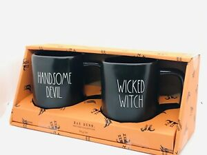 Rae-Dunn-Halloween-By-Magenta-HANDSOME-DEVIL-WICKED-WITCH-LL-Black-Mug-Gift-Set