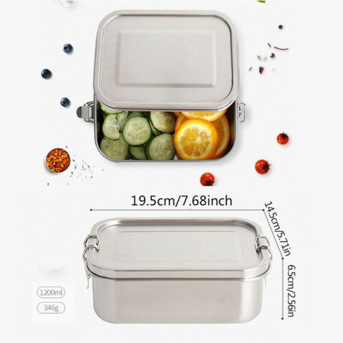 800//1200 Edelstahl Herausnehmbarer Trennwand Brotdose Auslaufsicher Lunchbox 01
