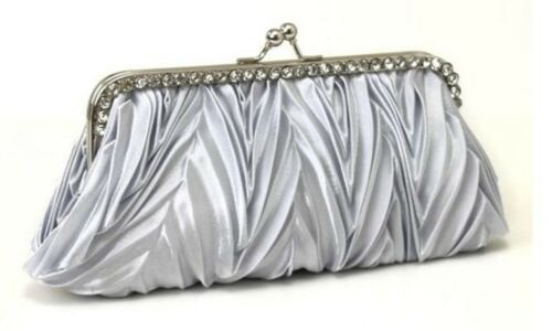 Vintage Soft Satin Wave Pleated Crystal Evening Clutch Handbag Wedding Bags