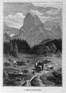 Stampa antica montagna WETTERHORN Berna Svizzera 1890 Old Print Switzerland
