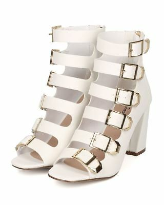 Breckelles Ali-21 White Buckled Strappy Chunky Heel Sandals Caged Peep Bootie