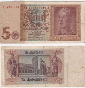 VF 5 Reichsmark 1942 Germany P 186 a