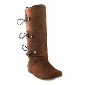 Ellie 111-THOMAS Brown Renaissance Moccasin Festival Peter Pan Costume Knee Boot