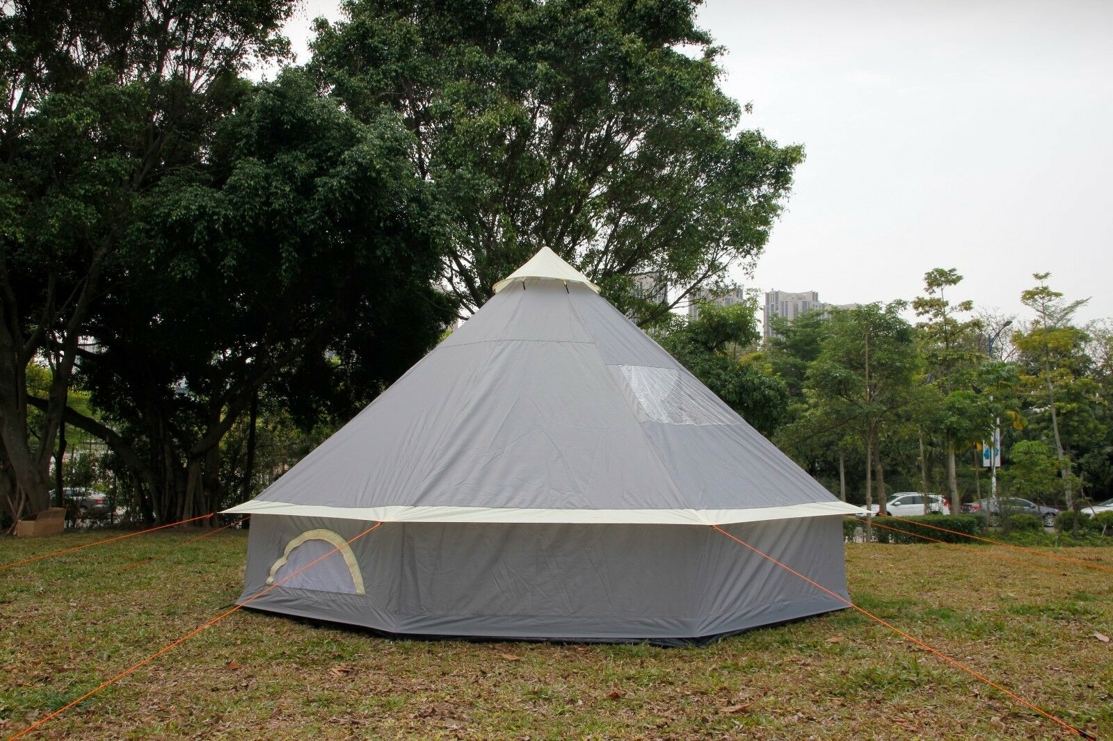 5m Bell Tent Pyramid round  Tent Grey With Zipped In Ground Sheet water proof