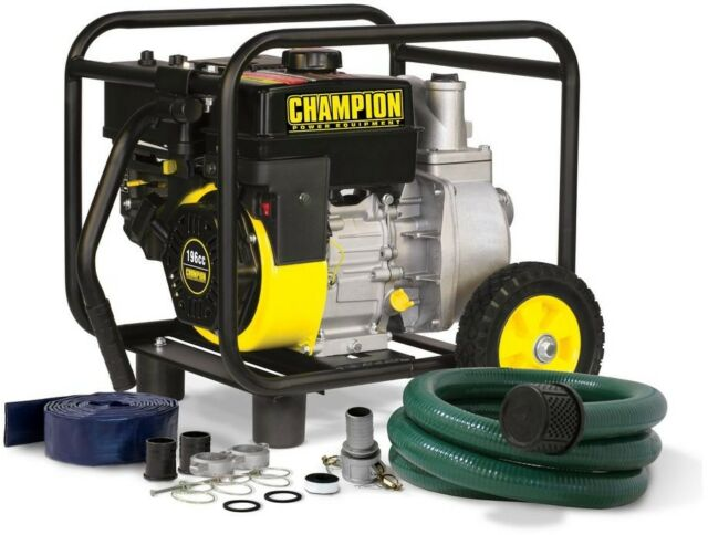 Champion Transfer Pump with Hose Wheel Kit 2 in. Gas-Powered Semi-Trash Water