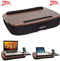 Wood Laptop Lap Desk Table Tablet Slot Workstation Office Dorm Computer Portable