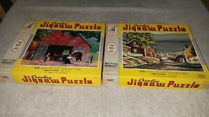 2-vintage-Croxley-Jigsaw-Puzzle-MILTON-BRADLEY-1963-Harbor-Street-le-forgeron