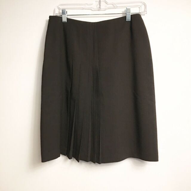 Anne Klein Stretch Skirt Womens Size 4 Brown Straight Wool Career Lined