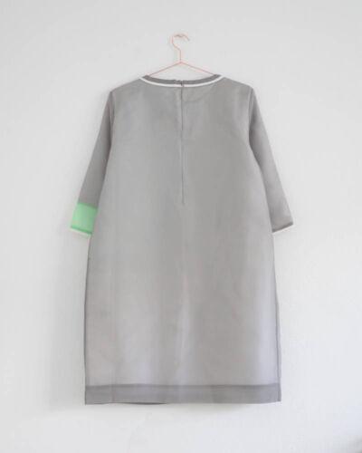 Robe 10 Uk empiècements Cos organza à en 36 en grise soie Hof115 grise couches de d4adn6