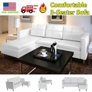 Details about Modern Corner Leather Sofa 3-Piece Sectional Set Living Room  White Furniture US