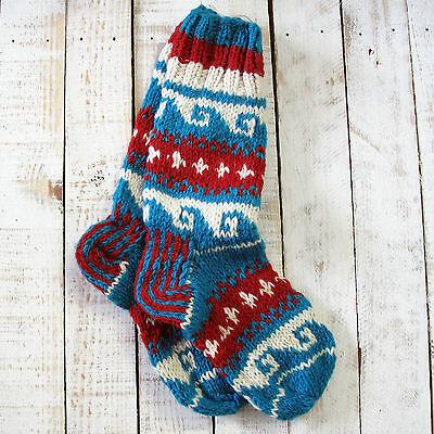 Funky Hand Knitted Winter Woollen Annapurna Socks Red /& Yellow