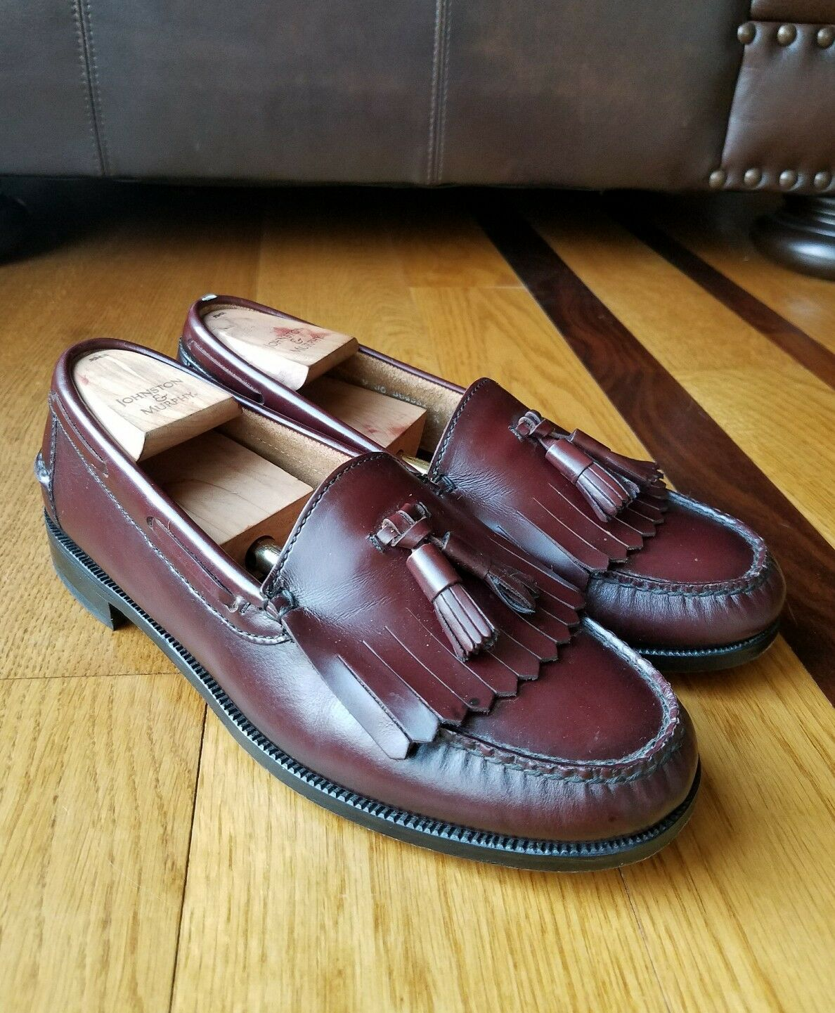 Scarpe casual da uomo  Vintage Florsheim Burgundy Leather Kiltie Tassel Loafer Wide Size 9 3E 30490